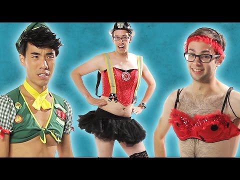 Men Try On Ladies' Sexy Halloween Costumes // Try Guys (видео)