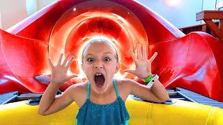 Trinity Faces Her Fears! Giant Waterslide!!!