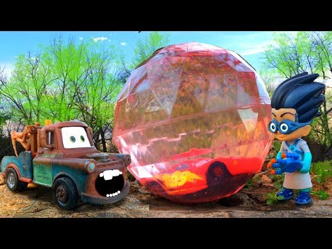 Disney Cars 3 Lightning McQueen's SCARY Dream, Mater Saves McQueen From PJ Masks Romeo Toys For Kids