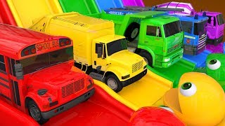 Learn Colors with Street Vehicle and PACMAN Magic Water Slide Color Shape Sand Pretend Play for Kids