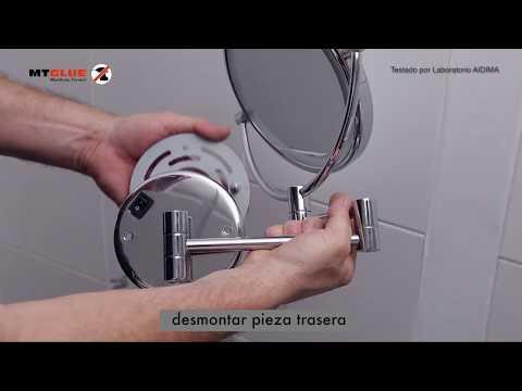 Como montar un espejo aumento a pared con pasta adhesiva