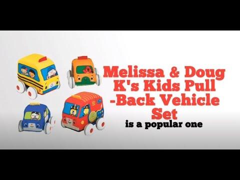 Melissa & Doug K's Kids Pull-Back Vehicle Set - Soft Baby Toy Set