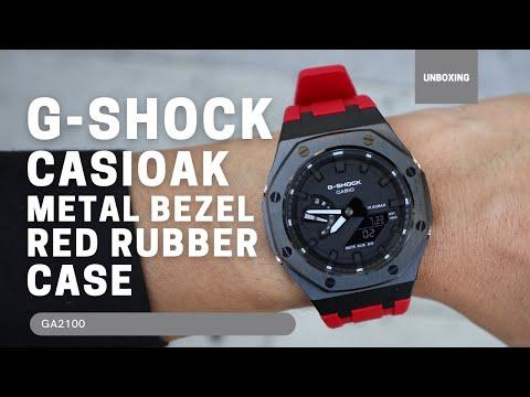 CasiOak GA2100 Black Metal Bezel Fluorine Red Rubber Watch Strap Length for Casio G-Shock GA-2100/2110