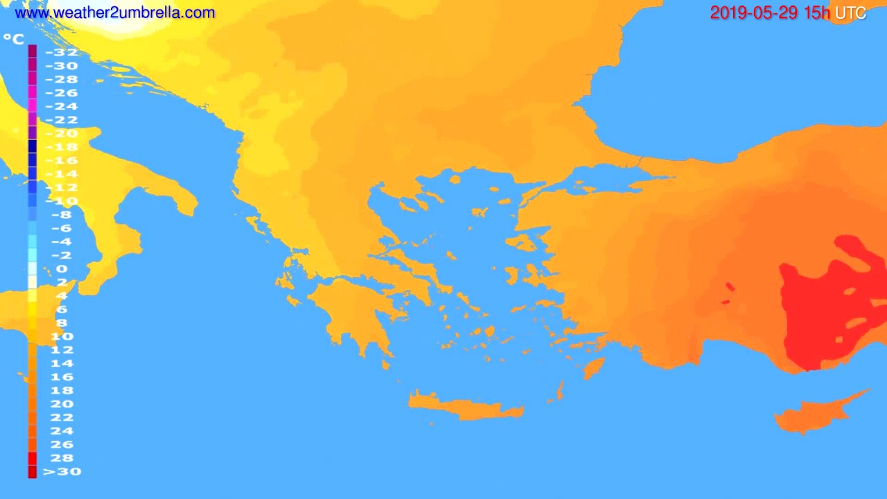 Temperature forecast Greece // modelrun: 12h UTC 2019-05-26