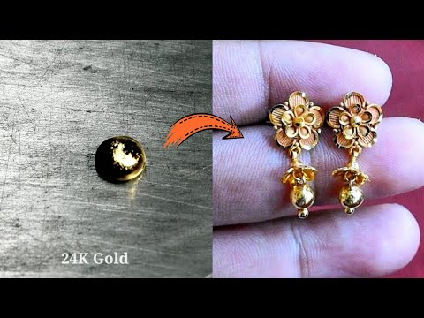 Pure Gold Earrings Making   Learn how to make this   24K Gold Jewellery Making - Gold Smith Jack