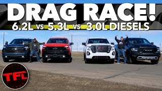 What's Quicker, a Gas or Diesel Pickup Truck? Let's Drag Race And Find Out!