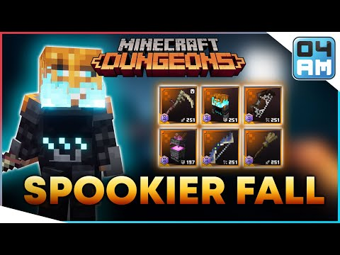 , title : 'SPOOKIER FALL - All Halloween Seasonal Trials Exclusive Gear Showcase in Minecraft Dungeons'