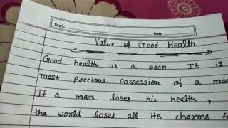 Short and smart paragraph on value of good health in English and education channel by Ritashu