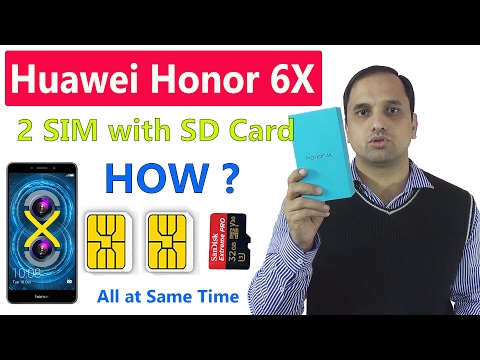 Huawei Honor 6X: How to use Dual SIM with SD Card Simultaneously ||