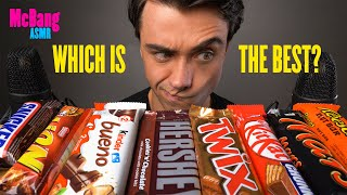ASMR CHOCOLATE CANDY BARS Eating Sounds (HERSHEY'S, SNICKERS, KITKAT, TWIX, KINDER, MARS, LION)