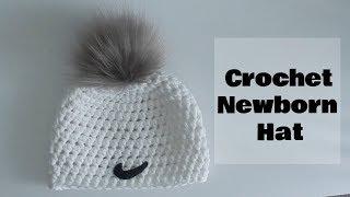 Crochet DIY Newborn Nike Fur Pom Pom Hat