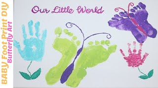 BABY FOOTPRINT DIY| Baby BUTTERFLY ART WORK |Baby Foot And Hand Print Canvas|Baby Memories On Canvas