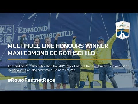 Maxi Edmond de Rothschild sets the a new multihull record in the Rolex Fastnet Race