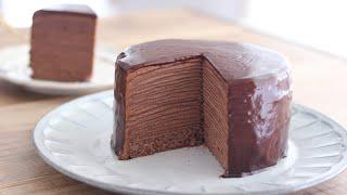 チョコレート・ミルクレープの作り方 - Chocolate Mille Crepe Cake|HidaMari Cooking