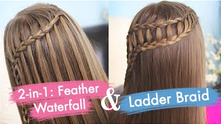 Feather Waterfall & Ladder Braid Combo Tutorial | Cute 2-in-1 Braided Hairstyles