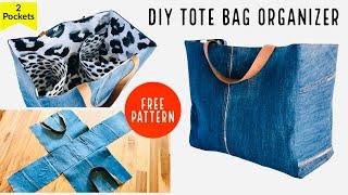 DIY TOTE BAG/JEANS BAG ORGANIZER/GROCERY/SHOPPING BAG/BOLSA DIY/SEWING SEWING #WITHME/เย็บกระเป๋าผ้า
