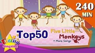 Năm Ít Monkeys + More Nursery Rhymes | Top 50 bài hát cho trẻ em