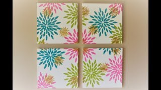 DIY FLORAL ABSTRACT PAINTING |  EASY CANVAS PAINTING FOR BEGINNERS USING STENCIL