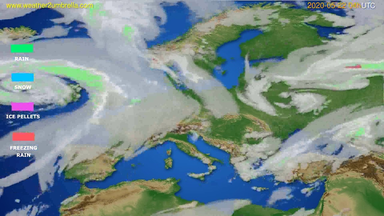 Precipitation forecast Europe // modelrun: 12h UTC 2020-05-21