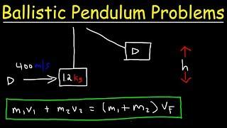 Ballistic Pendulum Physics Problems - Conservation of Momentum & Energy - Inelastic Collisions