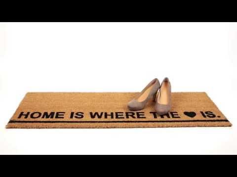 Lange Fußmatte aus Kokos HOME IS WHERE THE HEART IS