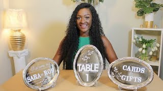 DIY: Dollar Tree Wedding Signs Trays | Welcome Sign, Table Numbers Cards & Gifts || Chanelle Novosey