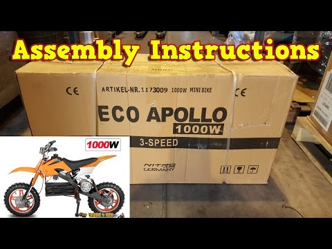 Apollo Electric Dirt Bike 1000W 36V - Unboxing - Full Assembly - Instructions - Video