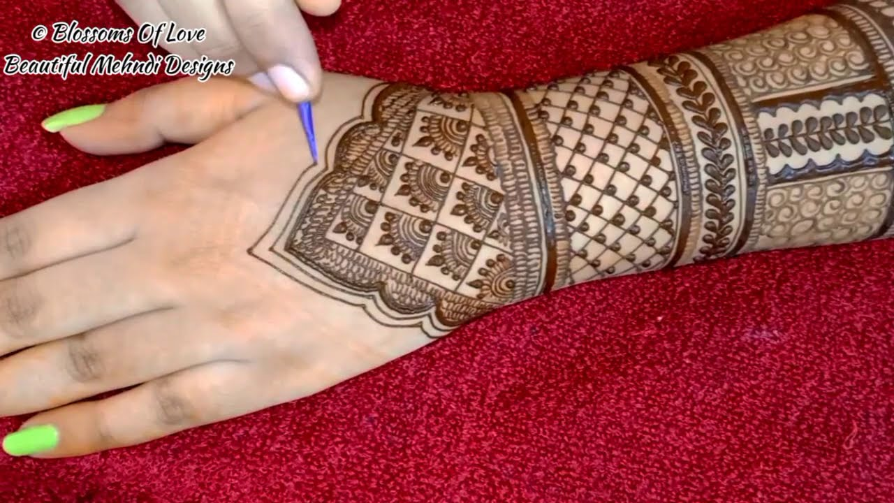 bridal mehndi design for full hands by bloosoms of love