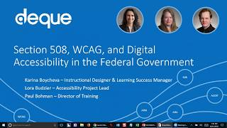 Section 508, WCAG 2.0 and Digital Accessibility in the Federal Government