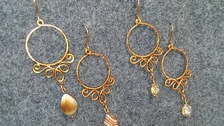 Copper Earrings Inspired Hena Motifs And Indian Jewelry - DIY Wire Jewelry 18