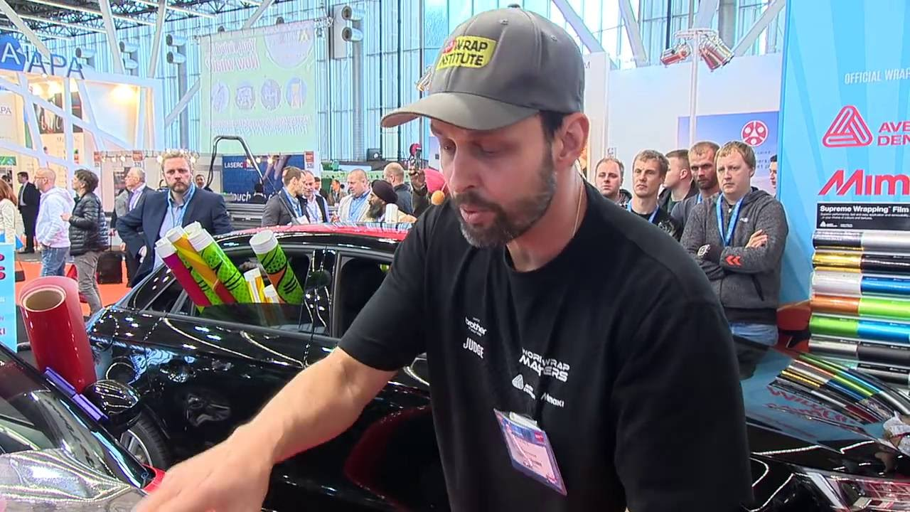 <p>World Wrap Masters Judge and professional graphics installer, Justin Pate demonstrates wrapping with Chrome.</p>