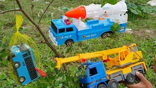 Crane Truck Troll Tayo Bus Rescued by Dump Truck Rocket Truck   Construction Vehicles Toys For Kids