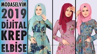 #Modaselvim Dijital Krep Tesettür Elbise Modelleri 2019 | #Hijab #Dress | #elbise #tesettür