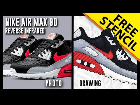 47c86b7abc9 Nike Air Max 90 Reverse Infrared - Sneaker Drawing w  FREE Stencil