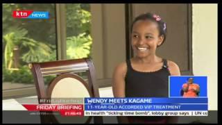 11 year old Kenyan acrobat Wendy Waeni meets President Kagame