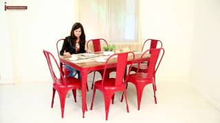 DINING TABLE - KARLOS 6 SEATER IRON DINING TABLE SET ONLINE IN INDIA