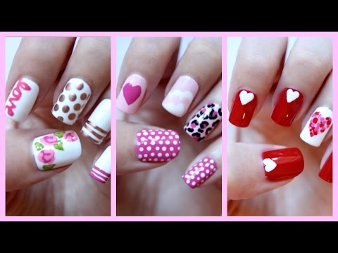 Valentines Day Nails! Three Easy Designs! | JennyClaireFox