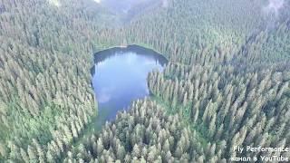Озеро Синевир в Карпатах. Аэросъемка.