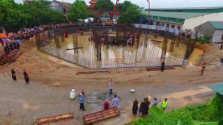 Đổ bê tông cột trụ đại tượng A Mi Đà - Chùa Khai Nguyên