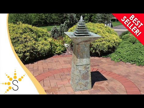 Sunnydaze Layered Slate Pyramid Outdoor Water Fountain With Led 40 Inch
