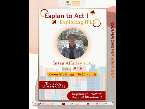 ESPlan to Act I : (Training Basic Stata) Online with Kak Insan Alfarizy