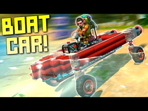 Boat Car Race On Land and Sea! - Scrap Mechanic Multiplayer Monday