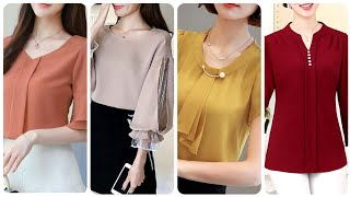 Most Trending And Stylish Casual Blouse Designs Chiffon Office Wear Blouse Designs For Women