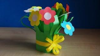 Как сделать цветы из бумаги. Букет для мамы на день рождения своими руками. Поделки на 8 марта.