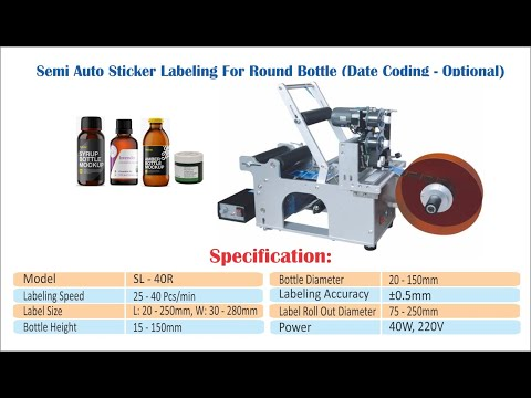 Semi Automatic Sticker Labeling For Round Sanitizer Bottles
