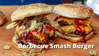 Barbecue Smash Burger   Grilled Smashburger with BBQ Sauce on PK Grill