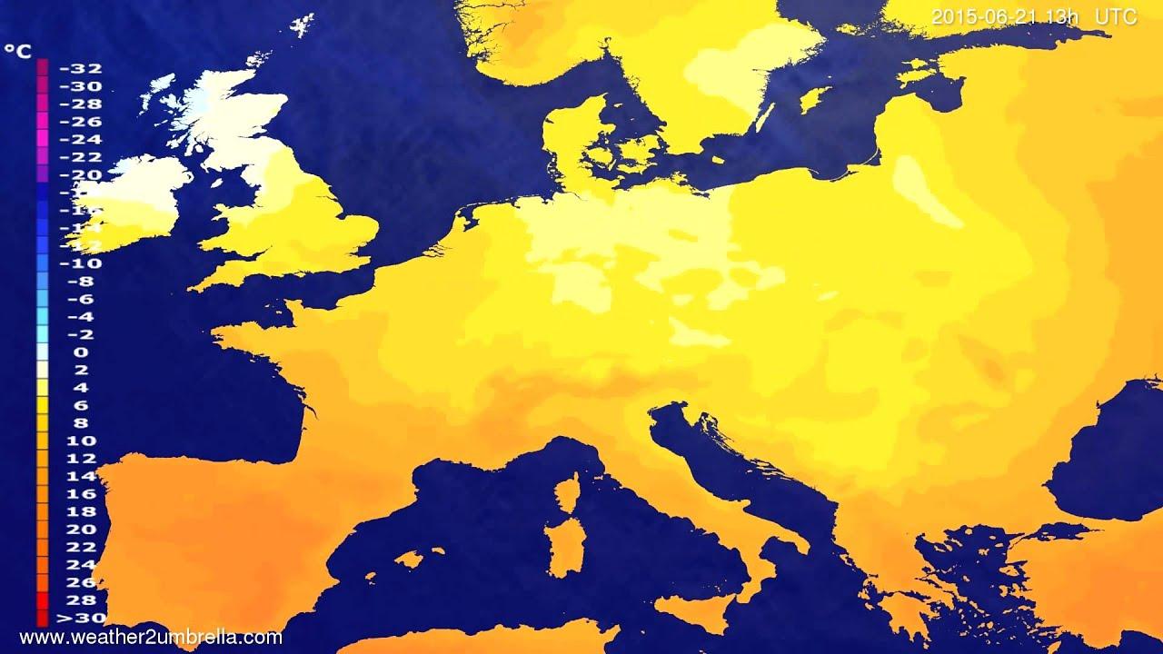 Temperature forecast Europe 2015-06-17