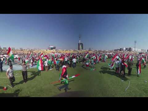 360 camera captures thousands of Erbil Kurds rally for independence ahead of referendum