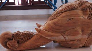 Wood Carving Work Beautiful #Elephant Wood Carving # Elephant Art Works# Wood Art
