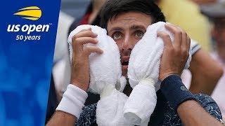 Novak Djokovic Battles The Heat And Marton Fucsovics in R1 on Arthur Ashe Stadium - US Open 2018